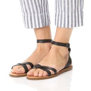 Madewell Boardwalk Crisscross Sandals  Black, 6.5